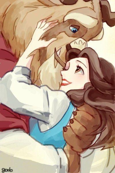Hug by ~godohelp on deviantART  Beauty and the Beast - Belle Disney Romance watercolour Digital Art-my fav Disney movie!
