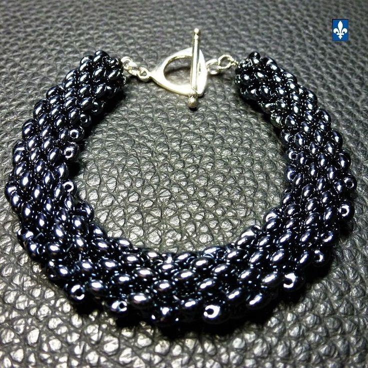 ♥ Charming Very Shiny Black Weaved Glass Plated Silver  Bracelet #Bracelet