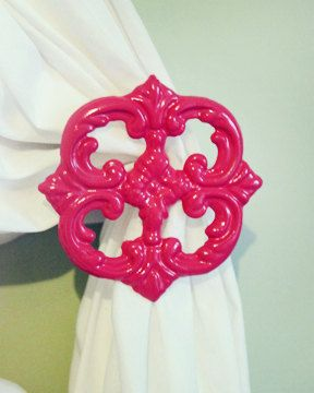 Curtain Holdback Set of two Hot Pink Shabby by TheChicDecorShop, $25.00