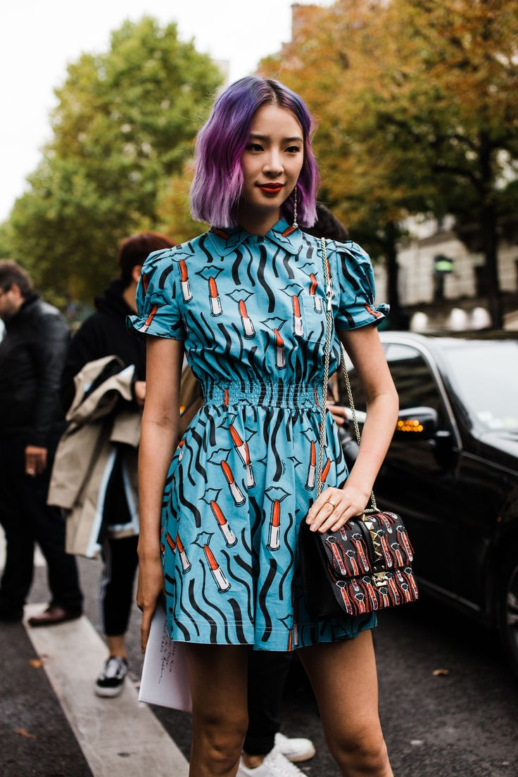 Influencer Irene Kim outside the Valentino show