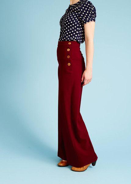 30'er-inspirerede bukser med høj talje og træknapper - bordeaux
