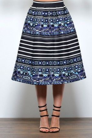 Ciara Stripe and Print Skirt in Blue