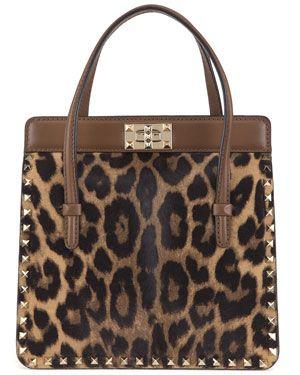 Valentino 'Rockstud' Calf Hair & Leather Top Handle Bag