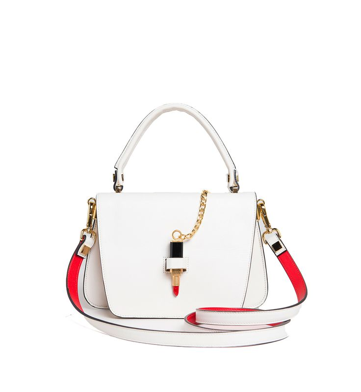 Giancarlo Petriglia Queen Lipstick bag in white brushed leather has red leather interior. Shop Red Lipstick Queen shoulder bag in white leather at www.cardinalno.com