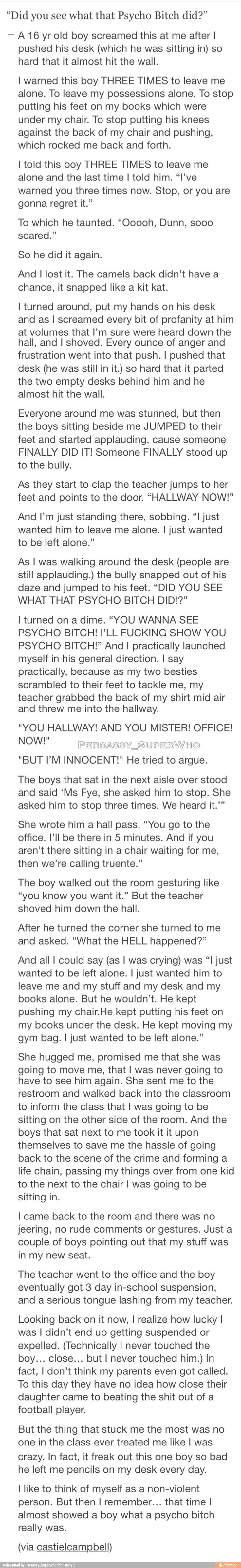 that's great. i  wish more people would read this and see what they could accomplish if they only stood up to bullies