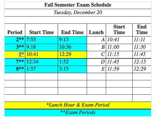 Final Exam Schedule: Here is the bell schedule for finals on Tuesday, December 20.  All periods, which are exam periods, are 78 minutes in length. Good luck to all of our students who are taking finals!