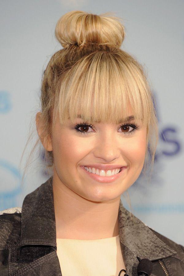 Demi Lovato Sock Bun With Bangs   Hair   Pinterest   Buns ...