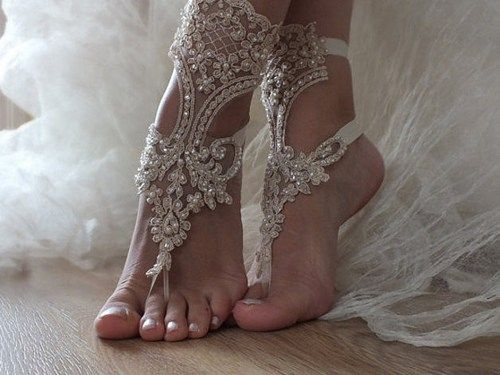 Beach wedding barefoot sandals,bridal anklet,champagne lace