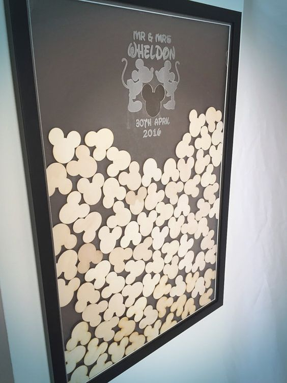Disney Themed Mickey Mouse Head Wedding Frame Guest Book