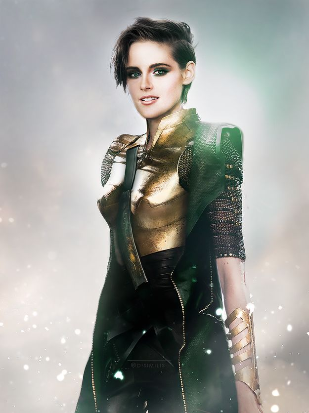 "(DIES A THOUSAND DEATHS FROM HOW COOL THIS IS.) -- Kristen Stewart as Loki | This Is What It Would Look Like If ""The Avengers"" Swapped Genders"