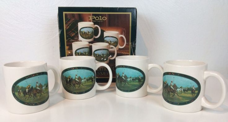 Vintage 1978 Ralph Lauren 4 Mugs/cups Set Polo Match Equestrian Limited Edition