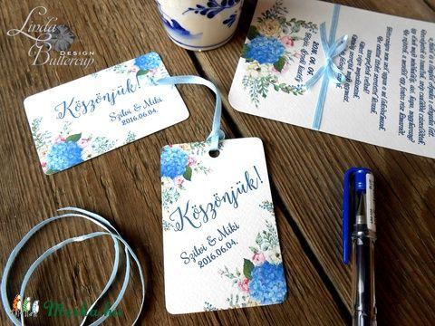 Esküvői képeslap, köszönet lap, köszönjük, Ajándékkísérő, köszönöm, kártya, virágos, kék hortenzia, Esküvő, Naptár, képeslap, album, Meghívó, ültetőkártya, köszönőajándék, Képeslap, levélpapír, Meska