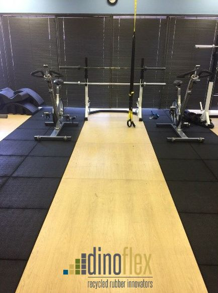 """Are you looking for a sound reducing impact absorbing flooring option? Stride Fitness Tiles are available in 1 and 1 ½"""" thicknesses and are the perfect option to reduce sound in a busy gym environment. Visit our website www.dinoflex.com for the stride colour options available. #UniquelyDifferent #SoundReduction #Fitness #Gym #Impact"""