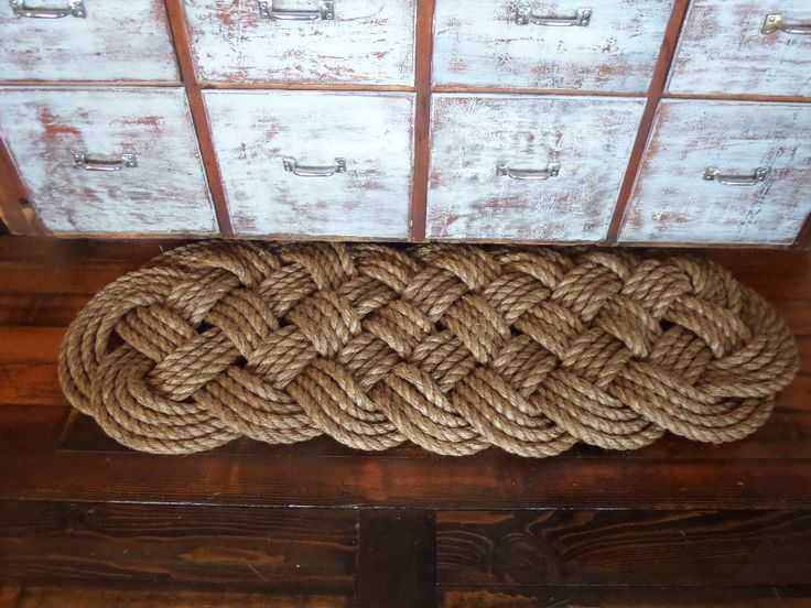 "Beautiful 48"" x 18"" Manila Large Door Mat Knotted Rope Rug Natural Tan Rope Nautical Beach Rustic Marine Ocean by AlaskaRugCompany on Etsy"