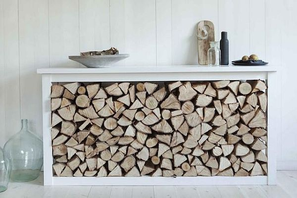 Stylish way of storing your fireplace wood