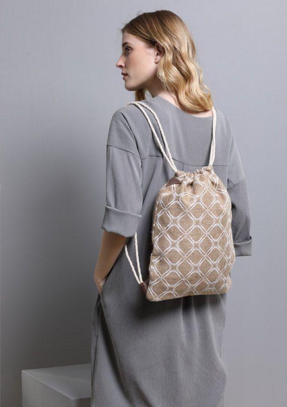 Drawstring Backpack Women's Printed Bag Jute by SCHILLERshop