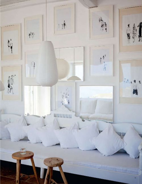 white room designMykonos Greece, Decor, Frames, Interiors Design, Living Room, Gallery Wall, White Wall, Art Wall, White Room