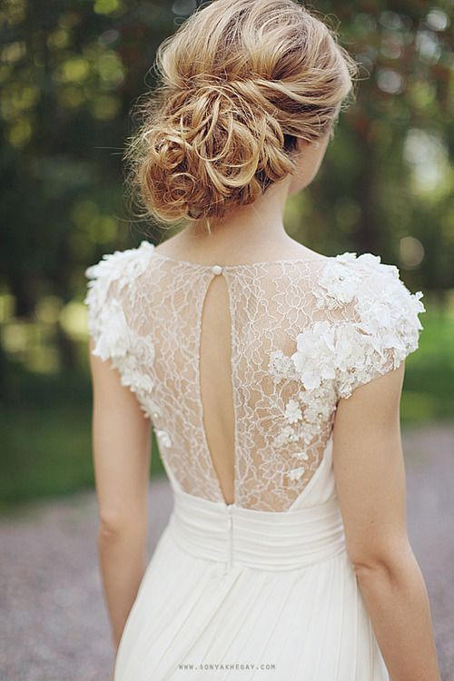 wedding dress // illusion necklines + lace + flowers @Bonnie Story Wedding