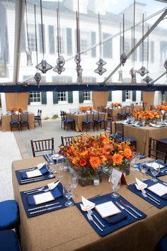 rehearsal dinner, rehearsal dinner inspiration, orange party inspiration, blue party inspiration