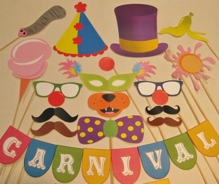 PDF - Circus / Carnival photo booth props/decorations/craft - printable DIY. $3.95, via Etsy.