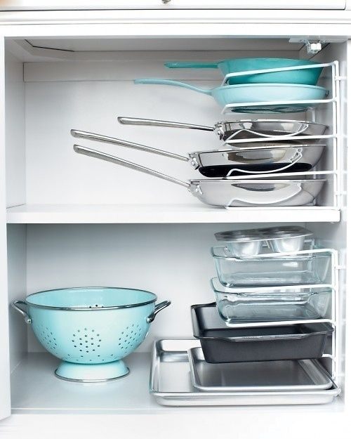 If you have a kitchen, use file dividers to store pans.  #cuttheclutter #qca