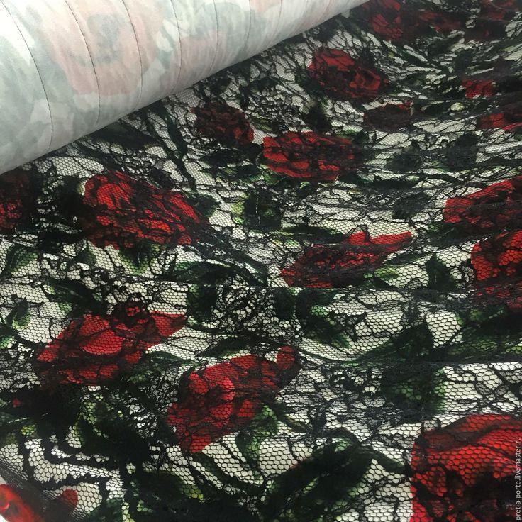 Купить D&G вискоза креп стрейч с кружевом , Италия - разноцветный, итальянские ткани, материалы для творчества