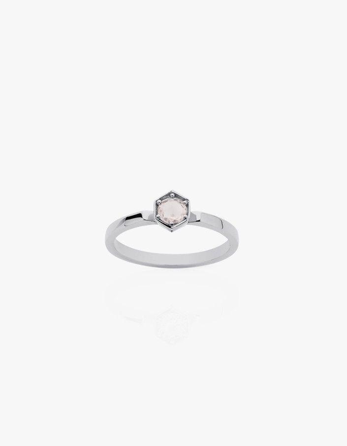 Hexagon Solitaire Ring - Rose Quartz
