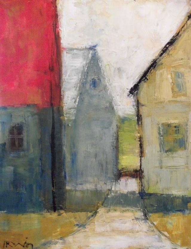 "Holly Irwin, ""Village"" Oil on Canvas, 20"" x16"""