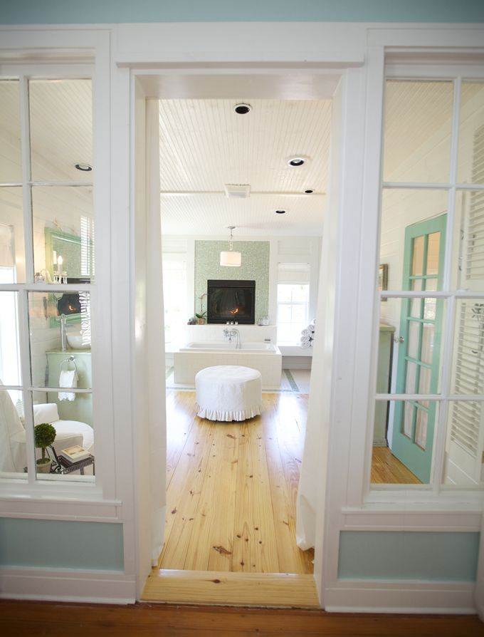 Image Gallery Website Dream bathroom Turquoise door tiled fireplace next to tub House of Turquoise