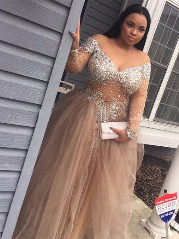 1f9ee8f1519 Ball Gown Off-the-Shoulder Long Sleeves Sequin Tulle Floor-Length Dresses - Prom  Dresses - Hebeos Online