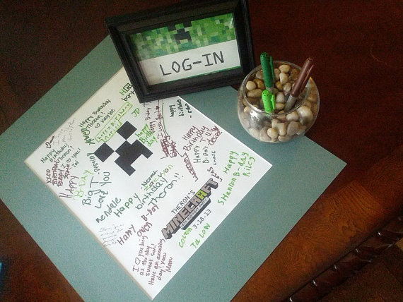 Minecraft birthday signing frame!  I designed and printed for my little guys birthday! I make all kinds of custom invitations plus more! Looking for a custom invitation design for your birthday party theme? Contact me at info@fox-t.com. Thanks!