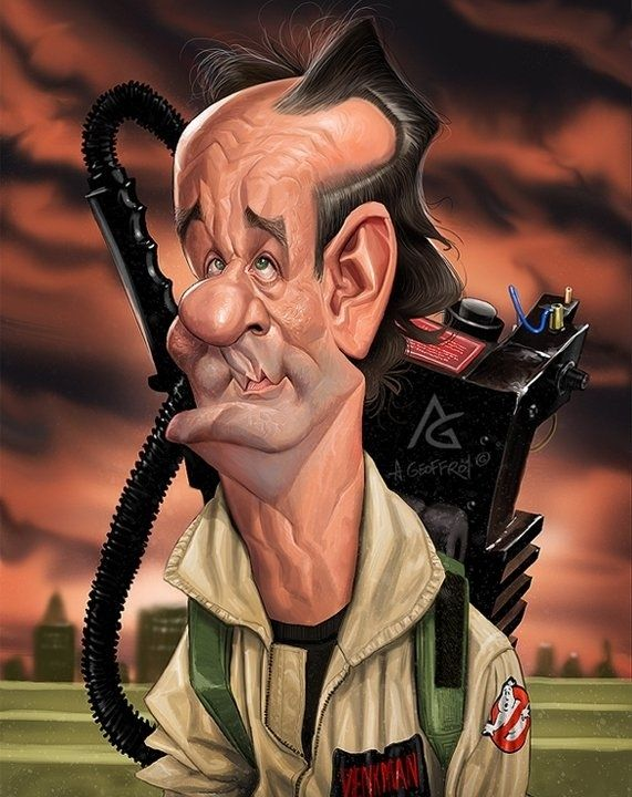 Incredibly Accurate Celebrity Caricatures. - Bill Murray in Ghostbusters