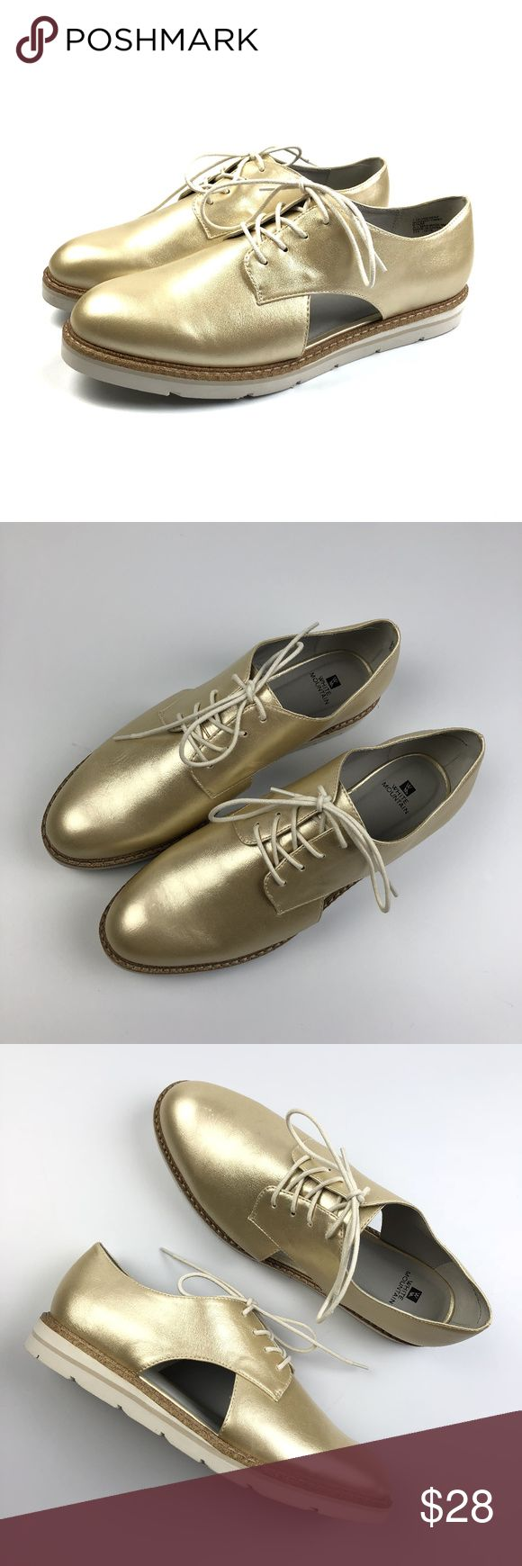 """White Mountain Timmy Cutout Gold Oxfords NEW New without box. Some light scuffs, marks from storage. White Mountain Timmy metallic gold cutout lace up oxfords. White and cork outsole. Synthetic. Size 9 1/2 Apx: 1"""" heel, 1/2"""" platform. White Mountain Shoes Flats & Loafers"""
