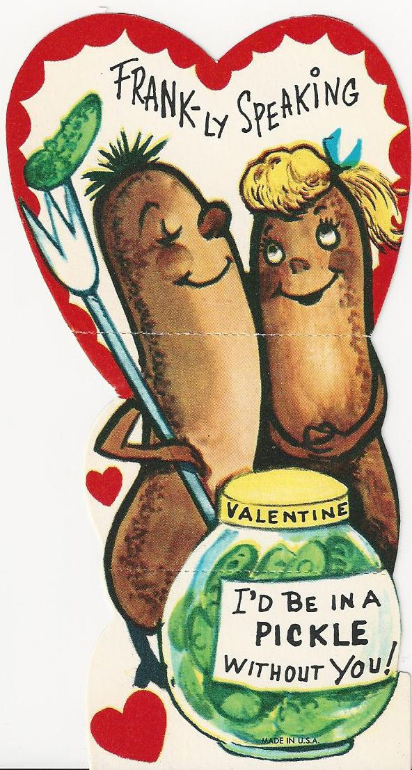 Hot Dog and Pickles Vintage Valentine Card | eBay