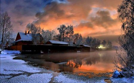 Winter Evening - winter sunset, lovely, view, lake, winter ...