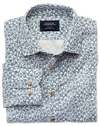 Slim Fit Hemd in Himmelblau mit Blattprint