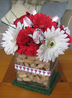 Try our Baseball Roses to accent your baseball wedding centerpieces - www.sportsthemedweddings.com  #baseballwedding  #stwdotcom