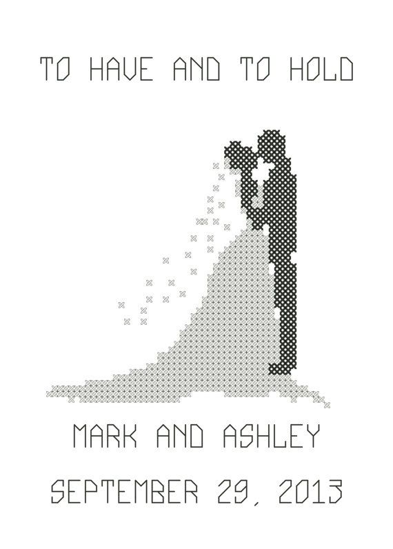 Cross Stitch Wedding Couple Pattern/Chart, Personalized Two Hearts Become as One Wedding Silhouette