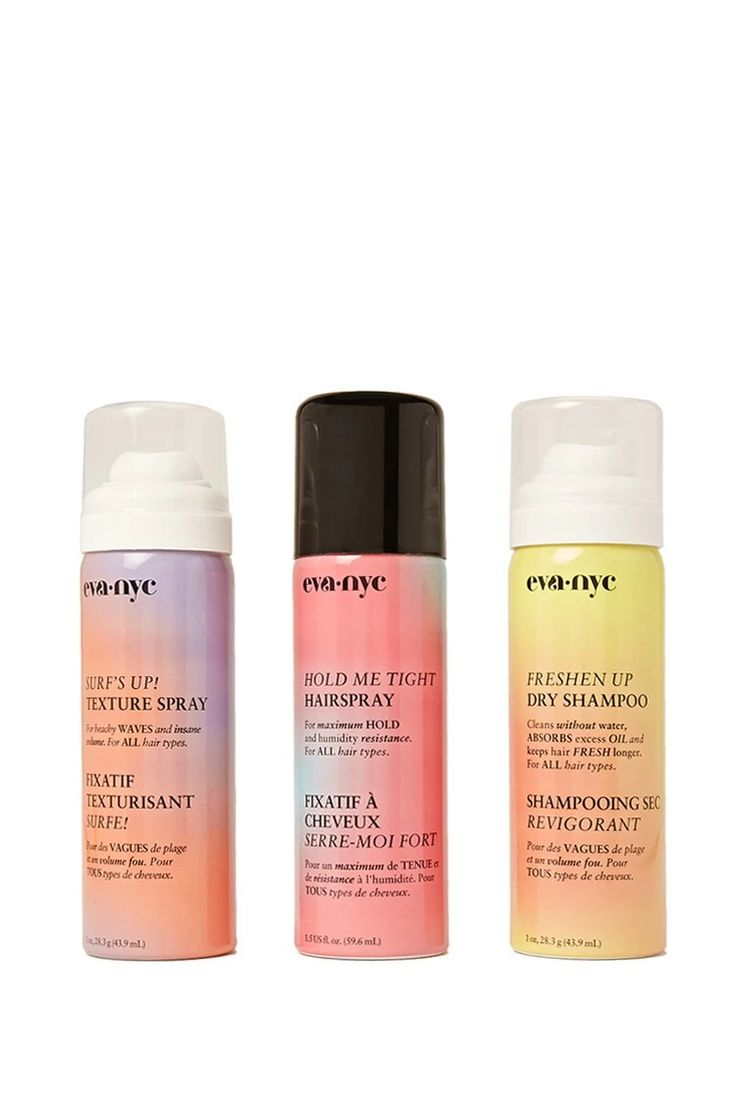 A hair styling travel set by Eva NYC™ featuring dry shampoo, hairspray, and texture spray.  #beautymark