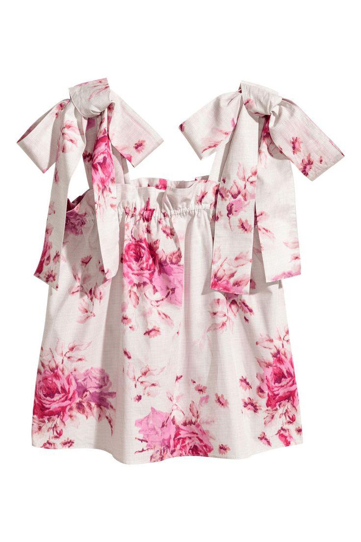 Bawełniany top bez rękawów - Biały/Róże - ONA   H&M PL 2
