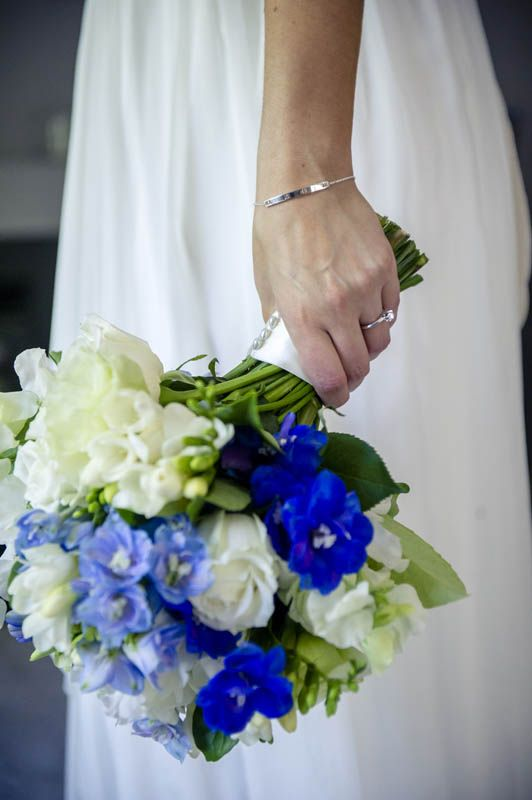 Love the blue & white in Claire's bouquet. Photographed by Marc Grist Photography #wedding #weddingphotography #weddingflowers #flowers #bouquet #marcgristphotography