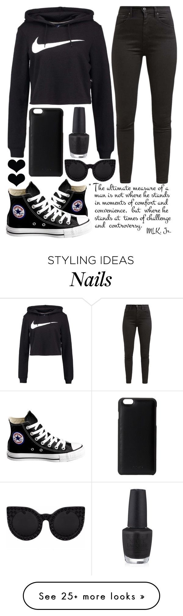 casual day by j-n-a on Polyvore featuring Converse, NIKE, Levis, Delalle, Knomo and OPI