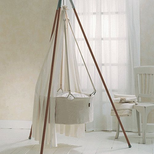 Leander Swinging Cradle: The Leander Swinging Cradle ($247) is suspended from one point, making it easy to set it in motion. Best of all, the ability to hang it from their tripod makes it great for families that can't (or don't want to) install a hook in their ceiling.