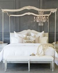 Eloquence Aria Queen Canopy Bed Queen Canopy Bed Non-Tufted Dove Velvet- Antique Linen and Silver Leaf Finish