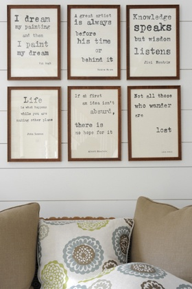 typewriter font artwork.  I love this idea for favorite quotes from favorite books in a reading area or den.