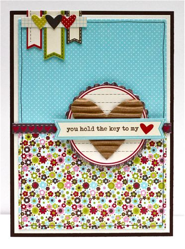 I just love the little corrugated heart.  :)    You Hold the Key to My <3 Card from Julie Bonner (via Jillibean Soup blog).  Great use of the Soup Label stickers at the top!Scrapbook Cards, Cards Ideas, Paper Heart, My Heart, Minis Scrapbook, Mini Scrapbooks, Cards Make, Scrapbook Pages, Heart Cards