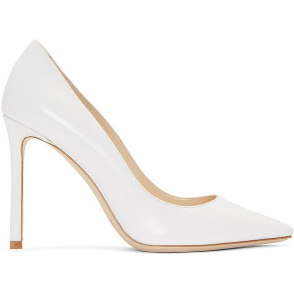Jimmy Choo White Romy 100 Heels (14 110 UAH) ❤ liked on Polyvore featuring shoes, pumps, white, jimmy choo, jimmy choo shoes, white pointed toe pumps, white shoes and white court shoes
