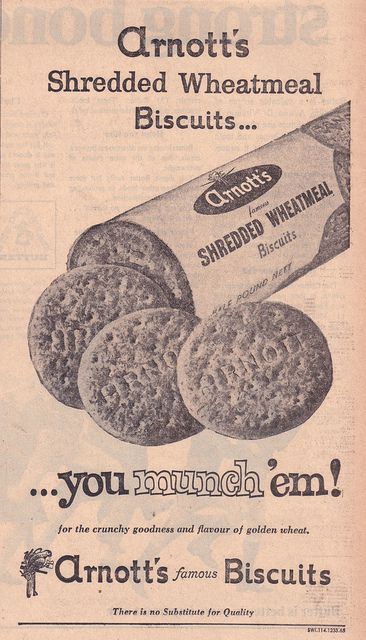 1966 ARNOTTs Shredded Wheatmeal Biscuits Ad - Australia | Flickr - Photo Sharing!