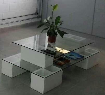 Mesa de centro con block hueco