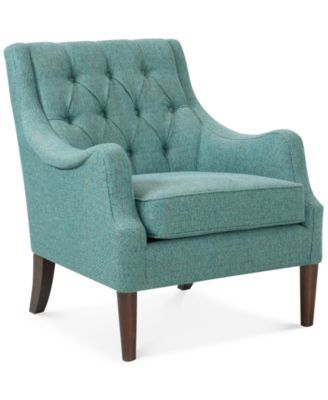 Glenis Tufted Accent Chair, Teal blue, 29.125Wx31.75D
